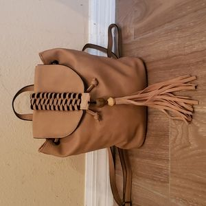 Faux leather mid sized backpack